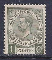 Monaco, Scott # J16 Mint Hinged Prince Albert, 1910 - Postage Due