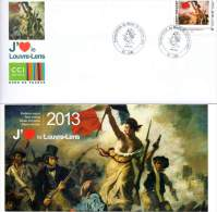 """LENS (PAS DE CALAIS) : Oblitér Temporai 2012 INAUGURATION MUSEE LENS-LOUVRE """"MONTRIMBRAMOI"""" CONCORDANT Tableau DELACROIX - Museums"""