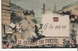 """LE SECRET DU TIMBRE """"A TOI MA VIE"""" CARTE FANTAISIE AVEC SEMEUSE 1908 - Timbres (représentations)"""