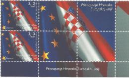 HR 2013-1082 ACCESION OF CROATIA TO THE EUROPEAN UNION, HRVATSKA CROATIA, 2 X 1v + 4Labels, MNH - Briefmarken