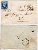 ROANNE -  Lettre Adressée A ST JUST EN CHEVALET (Loire) Avec PC 2691 Sur Yvert  14  (58165) - 1849-1876: Période Classique