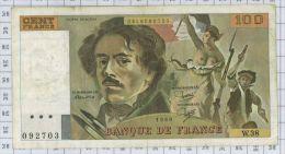 100 Francs Delacroix, Fayette N° 69/4a, état TTB - 100 F 1978-1995 ''Delacroix''