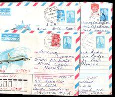 Armenia USSR 17 Pcs Stationery Covers 45kop Air Mail Armenia - Monaco, Collection Of Cancellations - Armenia