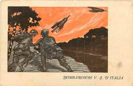 BOMBARDIERI D'ITALIA IN MANOVRA. DINAMICA ILLUSTRAZIONE PER LA CARTOLINA ANNI '40 - Manovre