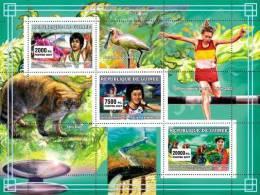 gu0720 Guinea 2007 Sports Olympic s/s Beijing Gymnastics Cat Bird Great Wall Cycling