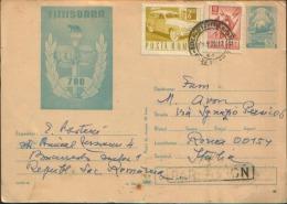 1970 ROMANIA BUCURESTI X ROMA PAR AVION TIMISOARA - Postal Stationery