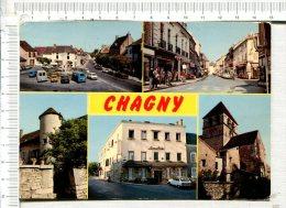 """CHAGNY - 5 Vues  : Centre Ville - Rue De La Ferté - Hôtel Restaurant  """"Lameloise """" - Le Prieuré - L Eglise - Tour Romane - Chagny"""