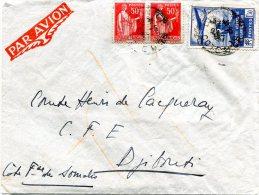 FRANCE LETTRE PAR AVION DEPART DIJON 25-5-37 POUR COTE FRANCAISE DES SOMALIS ARRIVEE DJIBOUTI 30 MAI 1937 - 1927-1959 Briefe & Dokumente