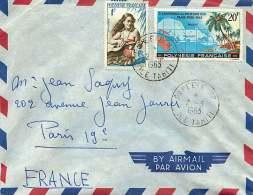 1963  Lettre Avion Pour La France Conférence Du Pacifique-Sud Yv 17, Joueuse De Guitate Yv 1 - Polynésie Française