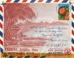 1963  Lettre Avion Pour La France Fleur: Saracaa Indica Yv 15 - Polynésie Française