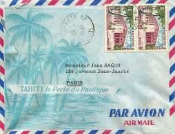 1962  Lettre Avion  Pour La France  Hötel Des Postes Yv 14 X2 - Polynésie Française