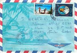 1977  Lettre Avion  Pour La France   Plage Yv 98, Roi Pomaré II Yv PA 107 - Polynésie Française