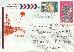 1973  Lettre Avion  Pour La France   Huïtre Perlière Yv PA 37, Danseuse Yv 27 - Polynésie Française