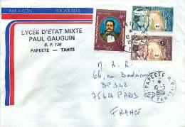 1973  Lettre Avion  Pour La France   Danseuse Yv 27, 28 Roi Pomaré V Yv PA 109 - Polynésie Française
