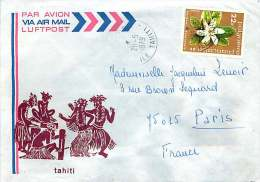 1979 Lettre Avion  Pour La France   Fleurs: Gardenia Yv 132 - Polynésie Française