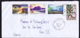 1963  Lettre Pour La France Pêcheur Yv 12, Paysages Yv 30, 31, 32 - Polynésie Française