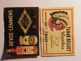 Belgium 2 Old  Matchbox Labels - Zündholzschachteletiketten