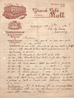 HAUT RHIN - MULHOUSE - GRAND CAFE MOLL - CONCERTS - TERRASSE - BILLARDS - DIRECTION MR ROB. E. BIERLEIN - LETTRE - 1936 - France