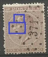 19A  Obl  374 Verviers  LV 1  Front, Nez, Joue Blancs - Variétés Et Curiosités