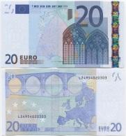EU Finland 20 Euro 2002 UNC P-10L Trichet, Prefix L, Printer Code P011A5 - EURO
