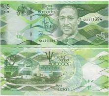 Barbados 5 Dollars 2013 UNC P-New - Barbados