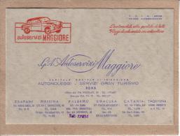 ITALIE - ROME - MESSINA - PALERMO - SIRACUSA - CATANIA - CARTE VISITE - AUTOMOBILE - AUTOSERVIZI MAGGIORE - Visiting Cards