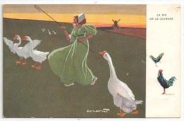 CROW - La Fin De La Journée - TUCK Série 614 - Coq - Poule - Oies - Tuck, Raphael