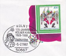 1997  CLOWN EVENT COVER KOLN CARNIVAL Anniv  Germany Stamps Clowns - Carnival
