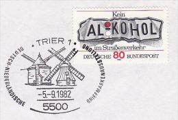 1982 WINDMILL Pic EVENT Pmk COVER, GERMANY Energy Stamps Alcohol Drink - Sciences
