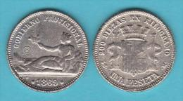 "ESPAÑA  /  GOBIERNO PROVISIONAL 1 Peseta 1.869 Texto ""Gobierno Provisional""   SC/UNC   Réplica T-DL-10.460 - [ 1] …-1931 : Royaume"