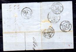 Léopold 1er, 19 Sur Lettre Bruxelles-Toulouse, Par Paris Et Bordeaux, Cote 35 €, - 1865-1866 Profil Gauche