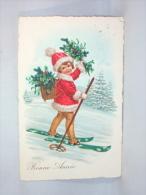 Illustrateur. Bonne Année. Petite Fille à Skis, Tenue Père Noël. - Anno Nuovo