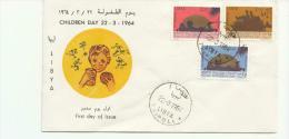 DC424-1964 LIBYA-FDC CHILDREN DAY 1964-3 Marke Tag - Libye