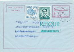 Aérogramme + TP Lunettes + TP Elstrom HASSELT 1977 Vers Le Danemark - 2 Cachets De RETOUR - TARIF 14 F  -- C0/980 - Stamped Stationery