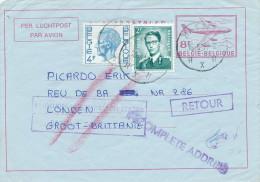 Aérogramme + TP Lunettes + TP Elstrom HASSELT 1977 Vers LONDRES UK - 3 Cachets De RETOUR - TARIF 14 F  -- C0/981 - Stamped Stationery