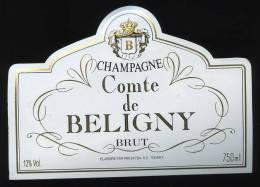 Etiquette Champagne COMTE DE BELIGNY - BRUT - Champagne