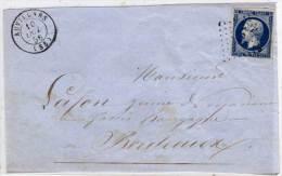 AUVILLARS - Devant De Lettre Adressée A BORDEAUX- PC 198 Sur Yvert N° 14Aa - Ind. 7 (58189) - Marcophilie (Lettres)