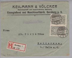 Heimat DE SA BERNBURG 1923-08-23 R-Brief Nach Beidersee - Allemagne