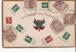 LE LANGAGE DES TIMBRES 14309  CARTE GAUFFREE  1914 (TIMBRES FRANCAIS) - Timbres (représentations)