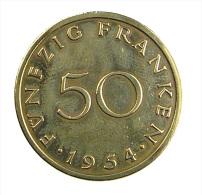 Allemagne -  50 Franken - Saarland - 1954  -  Br.Alu - Tb+ - [ 8] Saarland