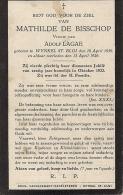 DP Mathilde DE BISSCHOP Lagae St-Eloois-Winkel 1839 / 1926 - Obituary Notices
