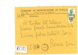 MONTELEONE DI PUGLIA - 71020 - PROV. FOGGIA - R - FORMATO 18X24 - TEMA TOPIC COMUNI D´ITALIA - STORIA POSTALE - Affrancature Meccaniche Rosse (EMA)