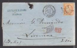 FRANCE 1872 N° 38 Obl. S/Lettre Entiére Paris étoile 4 Rue D´Enghien Pour L´Italie - 1870 Siege Of Paris