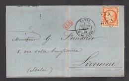 FRANCE 1874 N° 38 Obl. S/Lettre Entiére Paris étoile 24 Rue De Clery Pour L´Italie - 1870 Siège De Paris