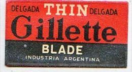 RAZOR BLADE RASIERKLINGE DELGADA THIN DELGADA GILLETTE BLADE INDUSTRIA ARGENTINA Nicht Ohne Rasierer Gefüllt - Rasierklingen