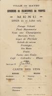 MAYET SARTHE MENU DU CONCOURS DE MANOEUVRES DE POMPES SERVI PAR M  GAILLET LE 22 JUILLET 1934 - Menú