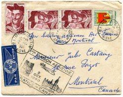 FRANCE LETTRE 1ere LIAISON AERIENNE 2 OCT 1950 FRANCE-CANADA DEPART SAINT-QUENTIN 2-10 1950 ARRIVEE MONTREAL OC 3 50 - 1927-1959 Briefe & Dokumente