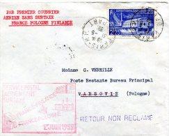 LETTRE PAR PREMIER COURRIER AERIEN SANS SURTAXE FRANCE-POLOGNE-FINLANDE DEPART PARIS 31-5-39 ARRIVEE VARSOVIE 2 VI 39 - 1927-1959 Briefe & Dokumente