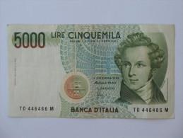 5000 LIRE - Cinquemila - ITALIE  - Banca D´Italia 1985. - [ 2] 1946-… : République