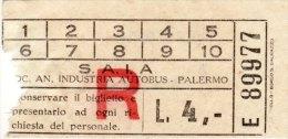PALERMO  /    S.A.I.A. - BIGLIETTO PER AUTOBUS - Bus
